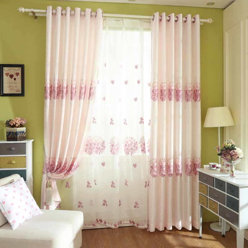 Fresh Pink Embroidered Flower Curtains For Living Room Sitting Impressive Window Curtains For Dining Room Inspiration