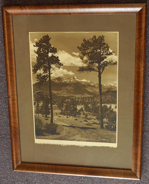Large Framed Vintage Sepia Tone Photograph of Mountain Scene - $120
