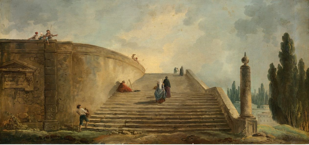 Hubert Robert - A GRAND STAIRCASE -  signed and dated middle right on column: H. Robert/1763 oil on canvas ; 15 3/4  by 33 1/4  in.; 40.2 by 84.3 - This painting, with it's poetic atmosphere and fluid brushwork, epitomizes the best of Robert's oeuvre.  It dates from towards the end the artist's lengthy sojourn in Italy, between 1754-1765, a period which was instrumental in shaping both his style and his reputation.