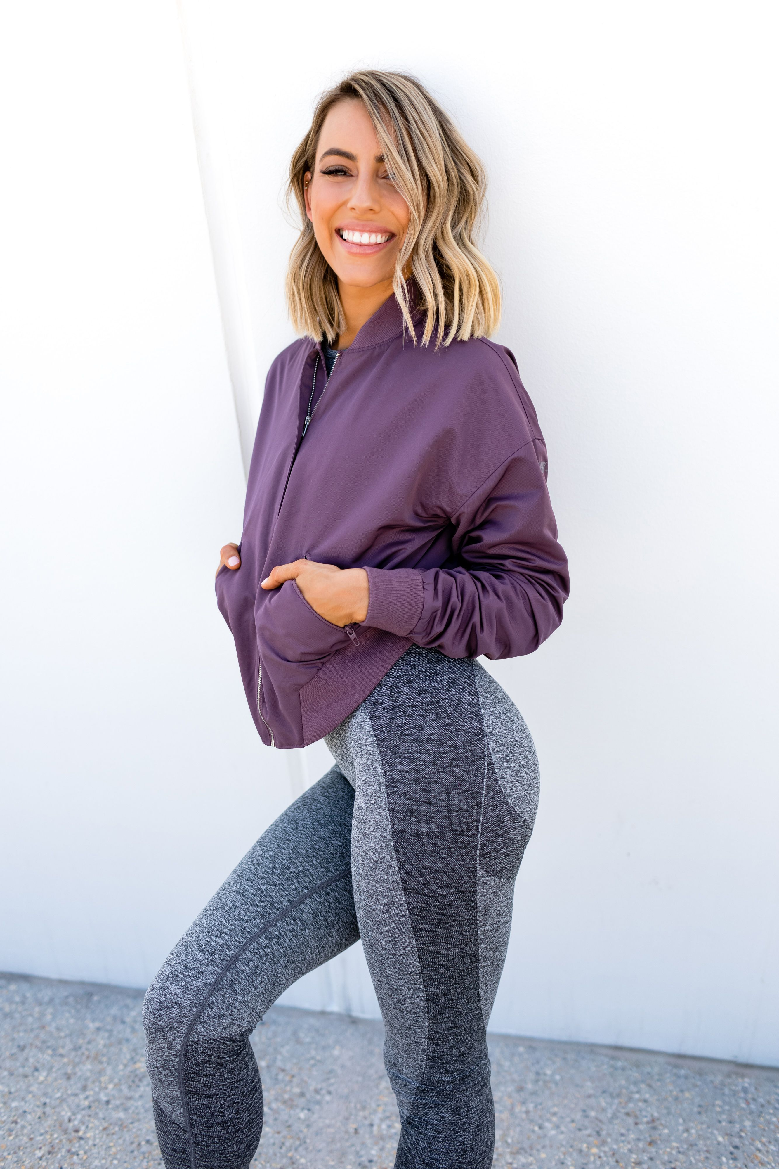 f8c8c895cee628 Your next workout essentials. Madalin Giorgetta styles the new Gymshark  Flex Set and Lo Bomber Jacket. Coming on 12th March at 7pm GMT.