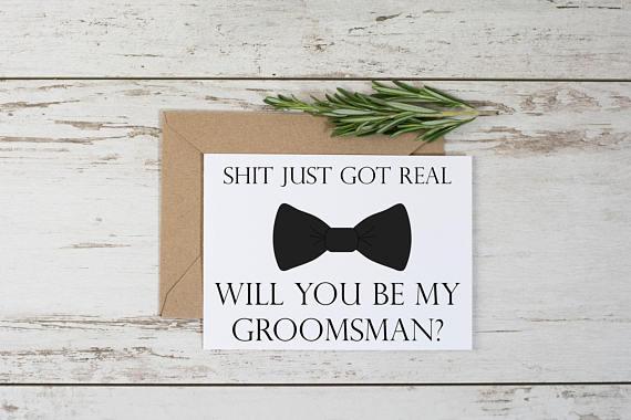 Printable Funny Groomsman Proposal Card Adult Humor Shit Just