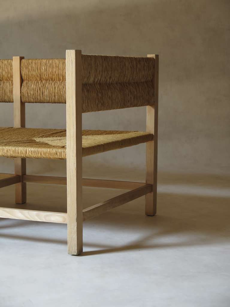Rush Seat Settee - France, 1960s image 7