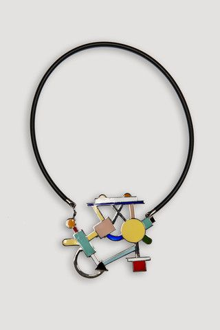 "Artist/Designer: Marco Zanini b. 1954, Trento, Italy Title: Morgana Necklace Medium: Handmade cloisonné, with rubber cord and latch Dimensions: 2.88"" h x 3"" with 16"" rubber cord Manufacturer: Acme Stu"
