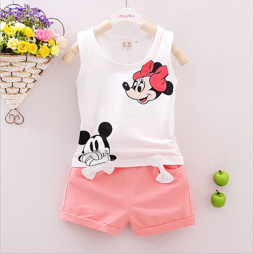 fc2bcc6f6ecf1 Girls Summer Sleeveless Outfits Baby Girl Minnie Mouse Vest Top +Bowtie  Shorts Pants Set Clothes Kids Outfit 1-5T