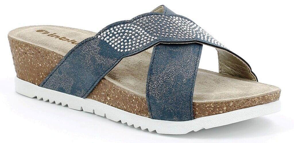 ciabatte da donna  ART INBLU  scalzati ER-06 zeppa bianco  sandals