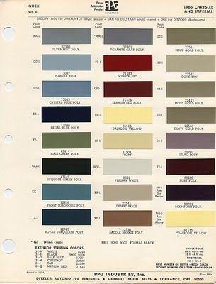 Vintage Mopar Color Swatch Cards Color Swatch Pinterest Mopar
