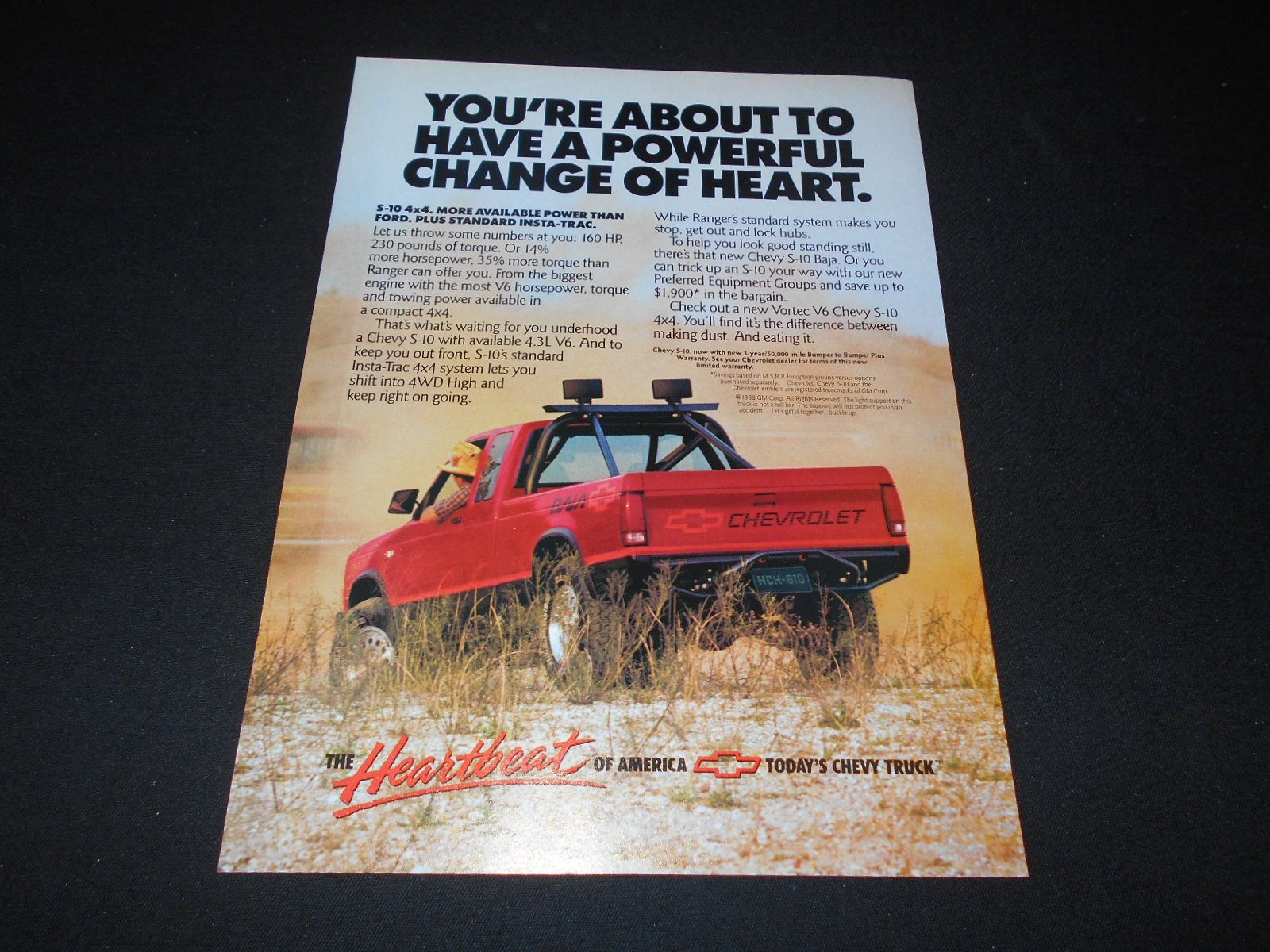 Chevrolet S10 Truck Magazine Ad 1988 Ads S10 Truck Chevy S10
