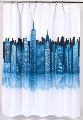 Shower Curtain New York City Skyline Motif 70 x 72 Fabric Bath ...