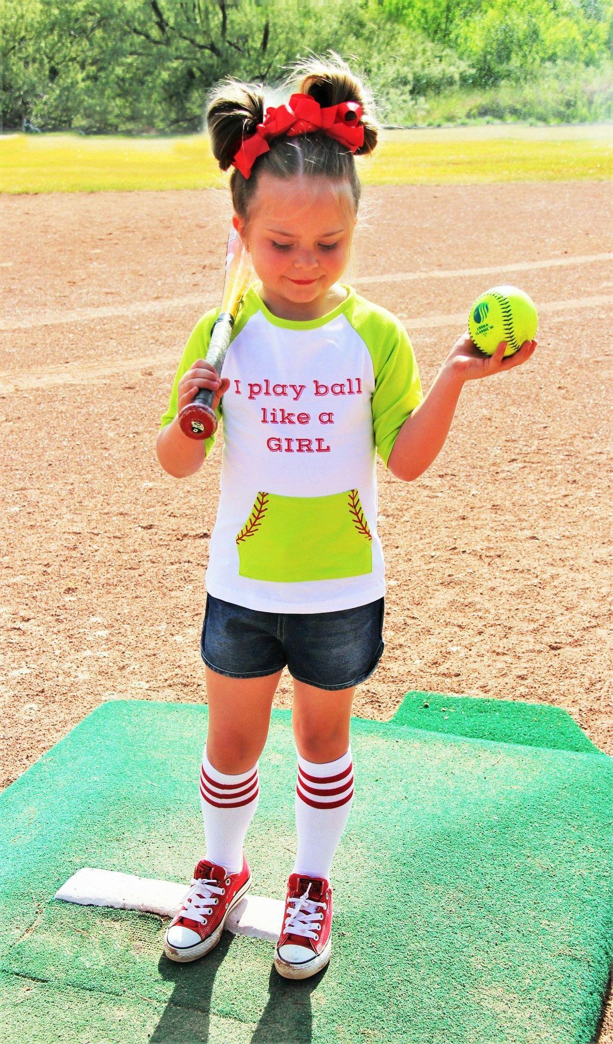 """SOFTBALL """"I Play Ball Like a Girl"""" 3/4 Sleeve Top ..."""