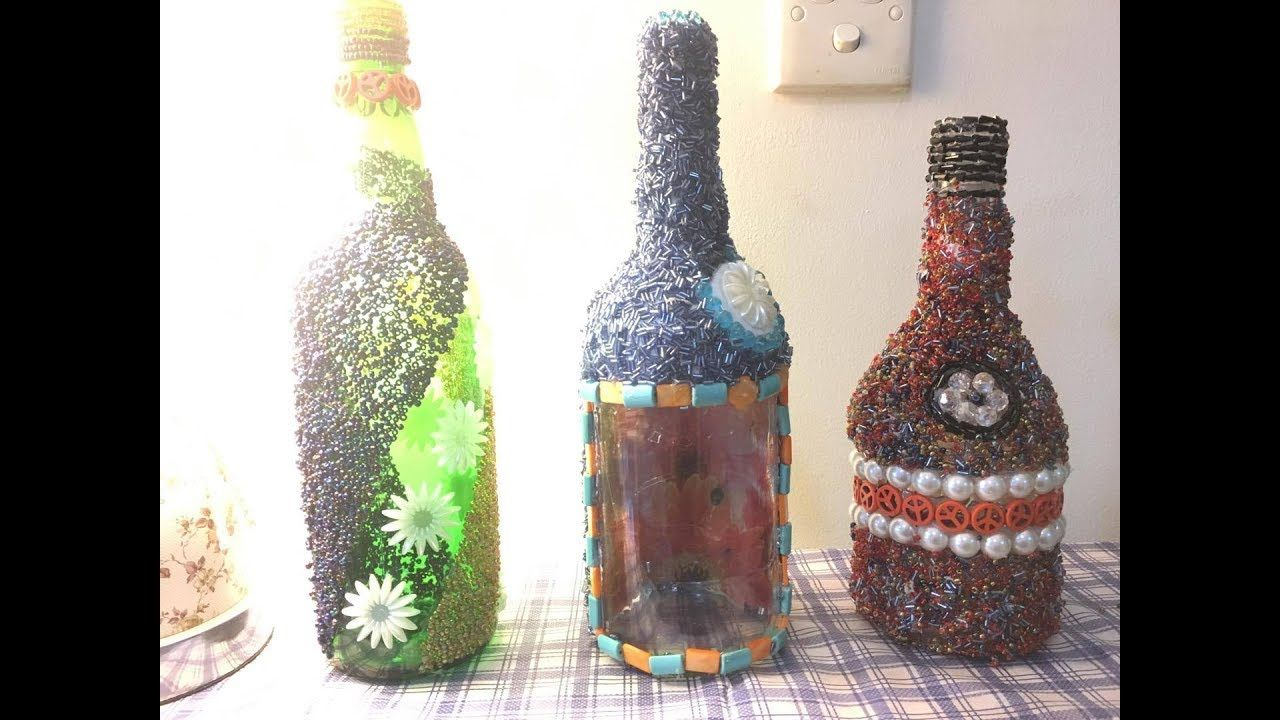 Decorate A Bottle Diy Decorating Bottle With Beads  Crafts Altered Bottlesaltered