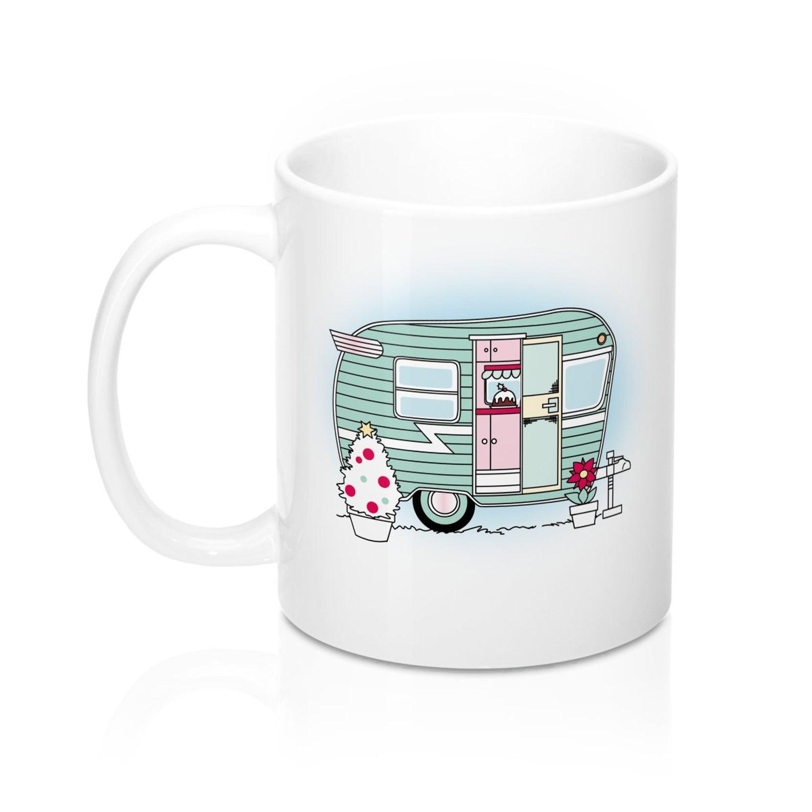 Christmas Camper Mug Christmas Mug Green Camper Vintage Camper Caravan Mug Happy Camper Mug Rv Mug Christmas Mugs Mugs Pottery Designs