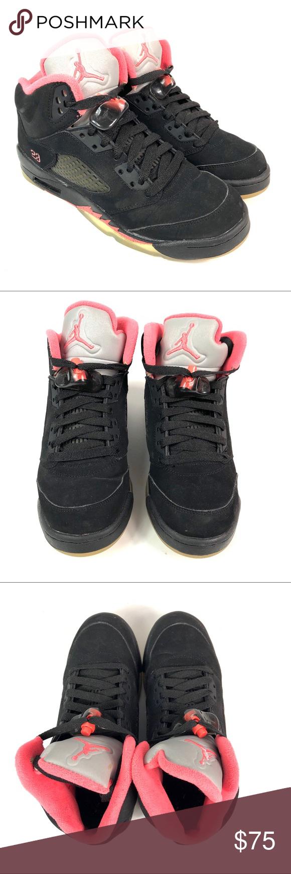 Air Jordan Retro V BG GS Black/Pink Shoes (With images