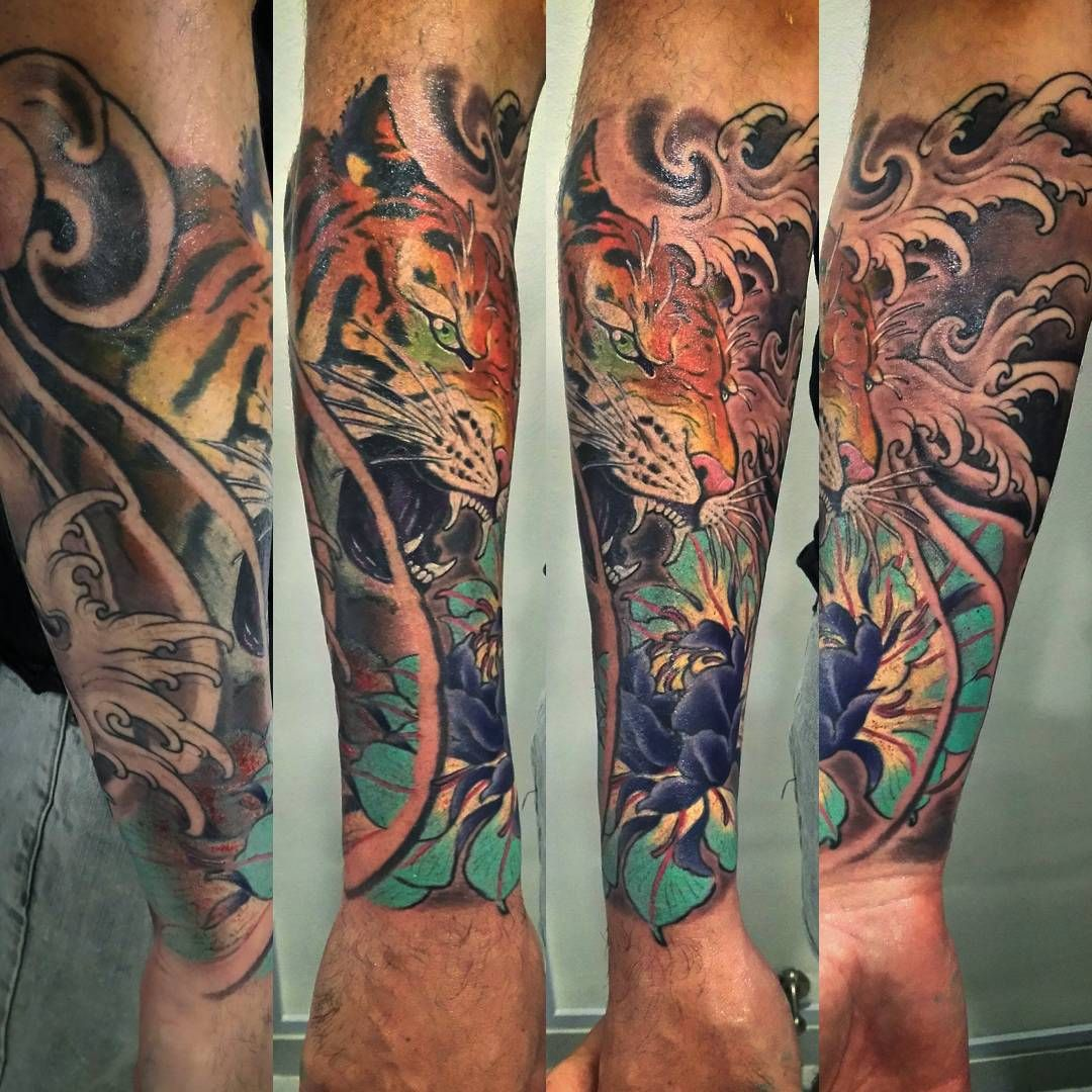 Japanese Irezumi Tiger Lotus Tattoo Waves Forearm Sleeve Singapore Sg Www Ofgodsandmonsters Com Www Instagram Com Forearm Tattoos Cool Tattoos Forearm Sleeve