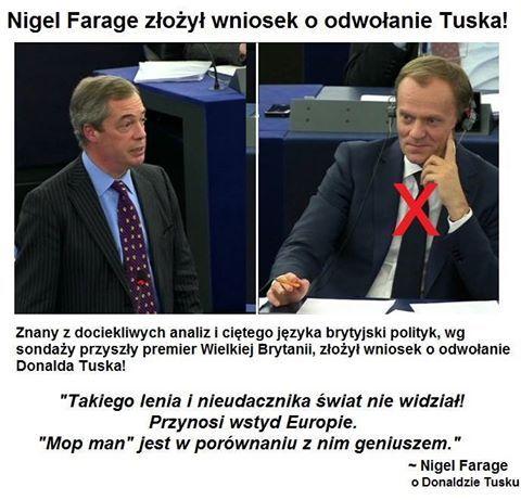 Znalezione obrazy dla zapytania Nigel Farage tusk