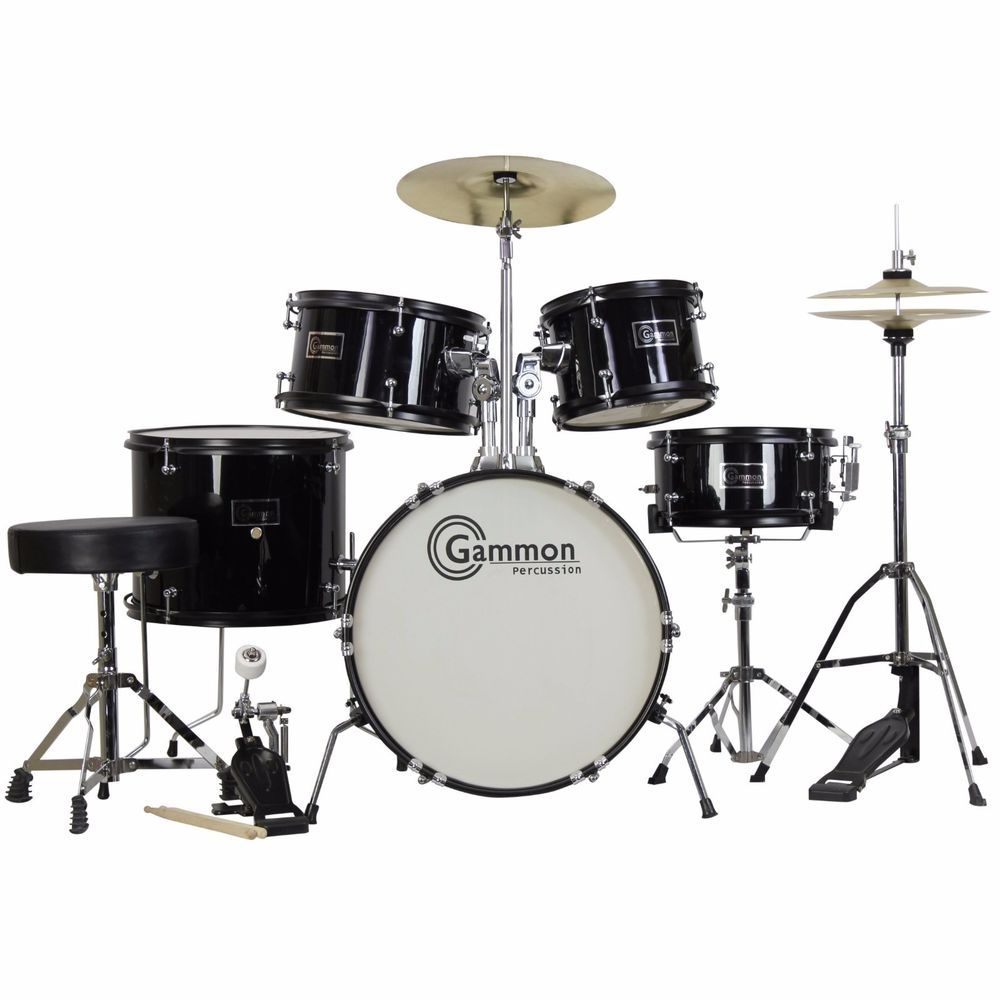 Junior Drum Set 5 Piece Kids Youth Musical Gift Kit With Seat Stick Black NEW #Gammon