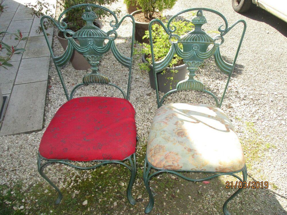 Superbe lot 2 Chaises de jardin vintage en fonte d\'art ...