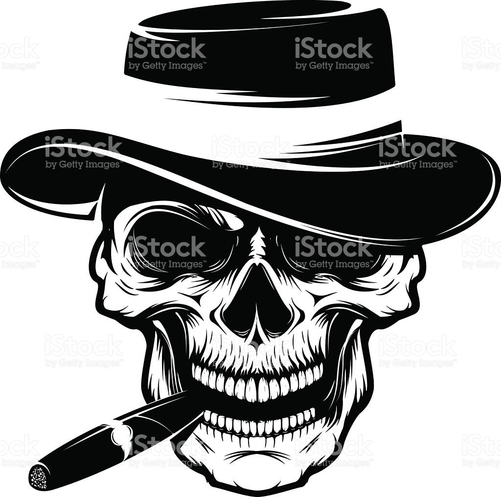Skull with cigar and hat. Design element royalty-free ...