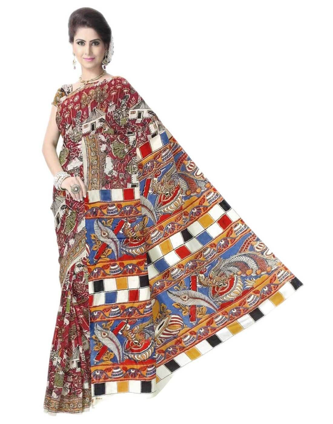 Get quality ethnic products and great service with GiftPiper.com. Pay COD, 15 day returns (Resellers are welcome- WhatsApp us on 9902488133) 15% Discount on Orders Above Rs 1000 with voucher code-FACEBOOK. Details at  http://www.giftpiper.com/product/kalamkari-saree-in-cotton-silk-multicolor-5Unique handblock printed kalamkari saree .