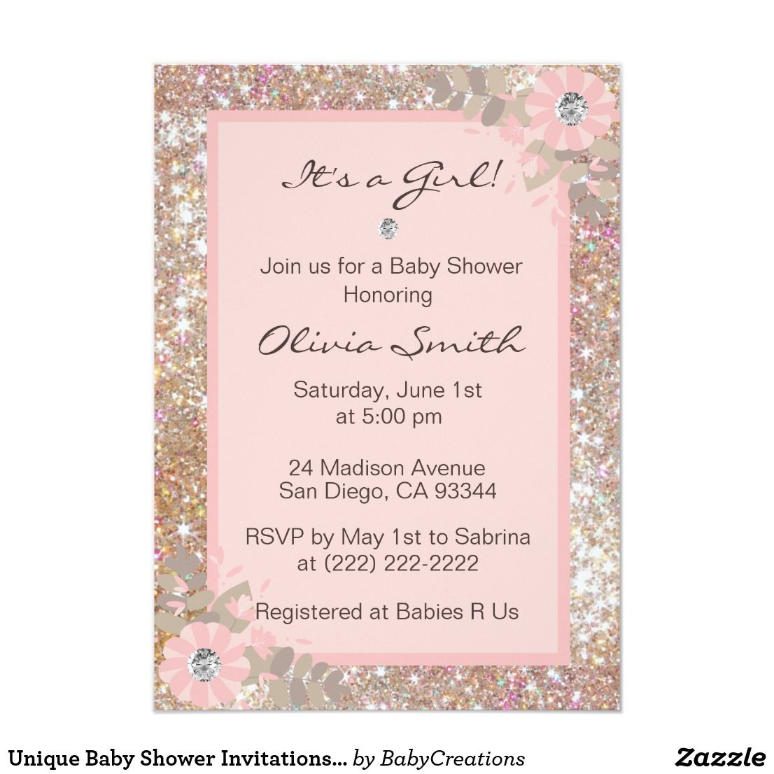 Unique Baby Shower Invitations Girls - Pink,Brown | Unique baby ...