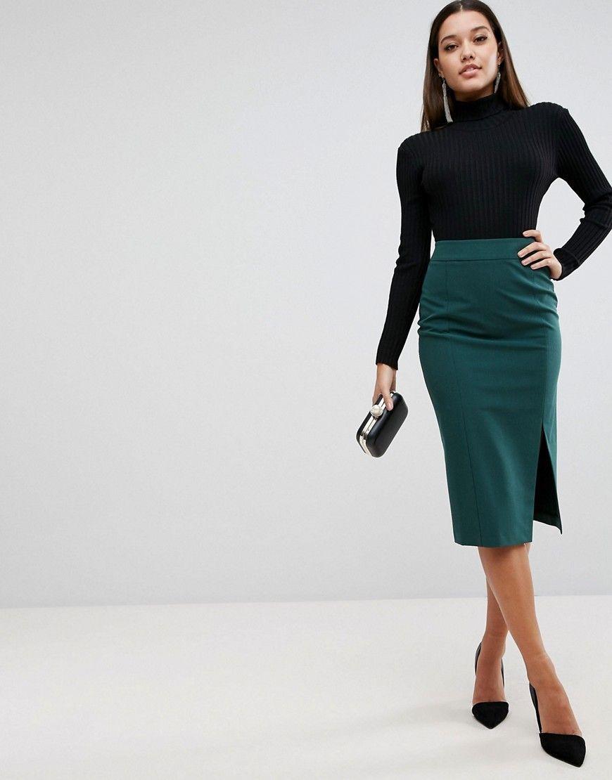 low priced 9f591 88245 ASOS Mix & Match High Waisted Thigh Split Pencil Skirt ...
