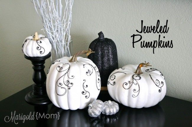 Jeweled Pumpkins Bling White Pumpkin Decor White Pumpkins Glitter Pumpkins