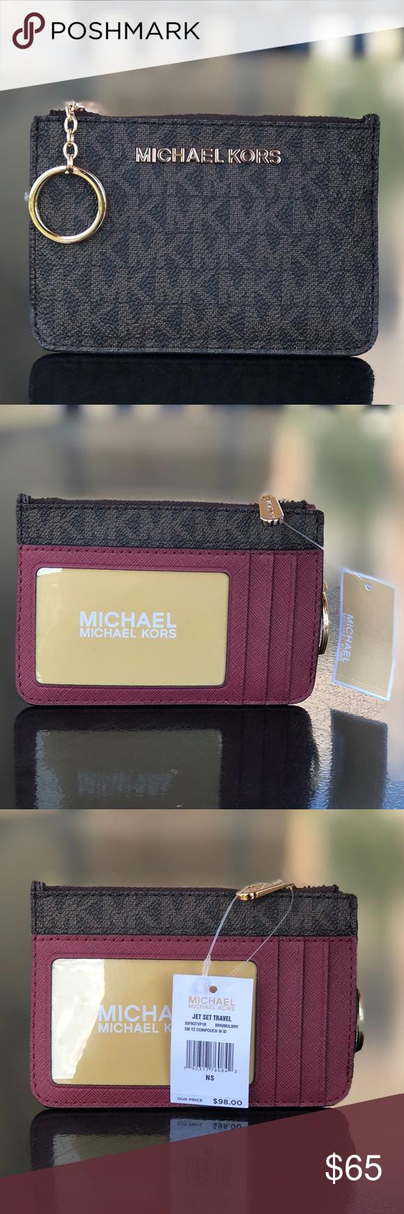 6ec3018b5a619 Michael Kors Jet Set Coin Pouch ID Key Brn MULBRY Authentic