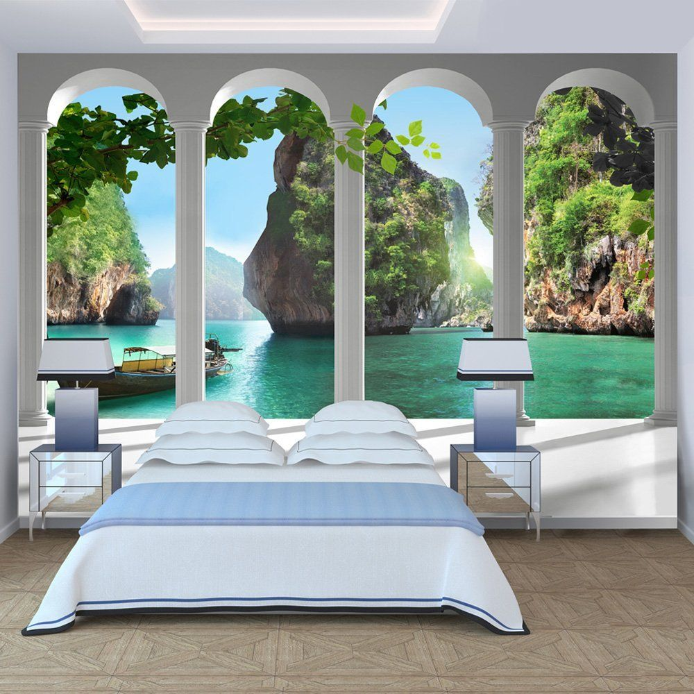 Murando® Fototapete Paradies 350x245 Cm   Vlies Tapete   Moderne Wanddeko    Design Tapete   Wandtapete   Wand Dekoration   Meer See Laguna Landschaft  ...