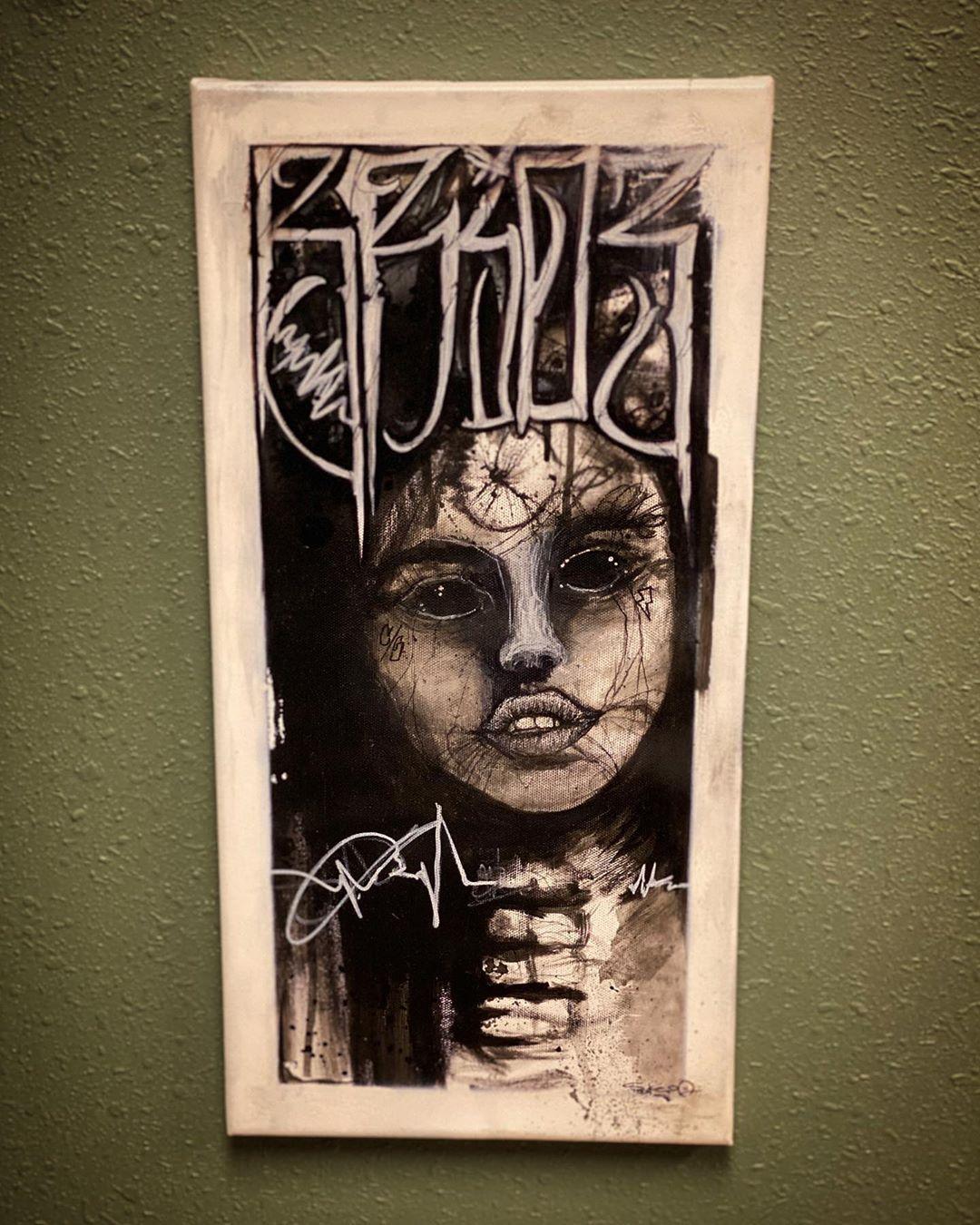 #thebride #brideoffrankenstein 16x40 #acrylic on #canvas #mixedmedia original.  FOR SALE or Print on Canvas  DM or email if interested:  Coldave31@gmail.com • • •  @joeyspooks @cold_ave @natata2 @electricartkenosha #frankenstein #themonster #drfrankenstein #life #itsalive #darkart #paint #painting #art #artist #chicago #watercolor #graffiti #lettering #tattoo #tattooart #tattooartist #dark #black #ink #inked #blackandgrey #realism #coldave #joeyspooks
