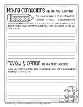 Movie Review Template Reading Notebooks 2nd Grade Writing