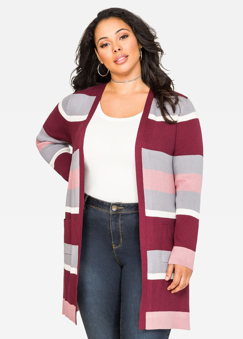 Striped Longline Cardigan Sweater Striped Longline Cardigan ...