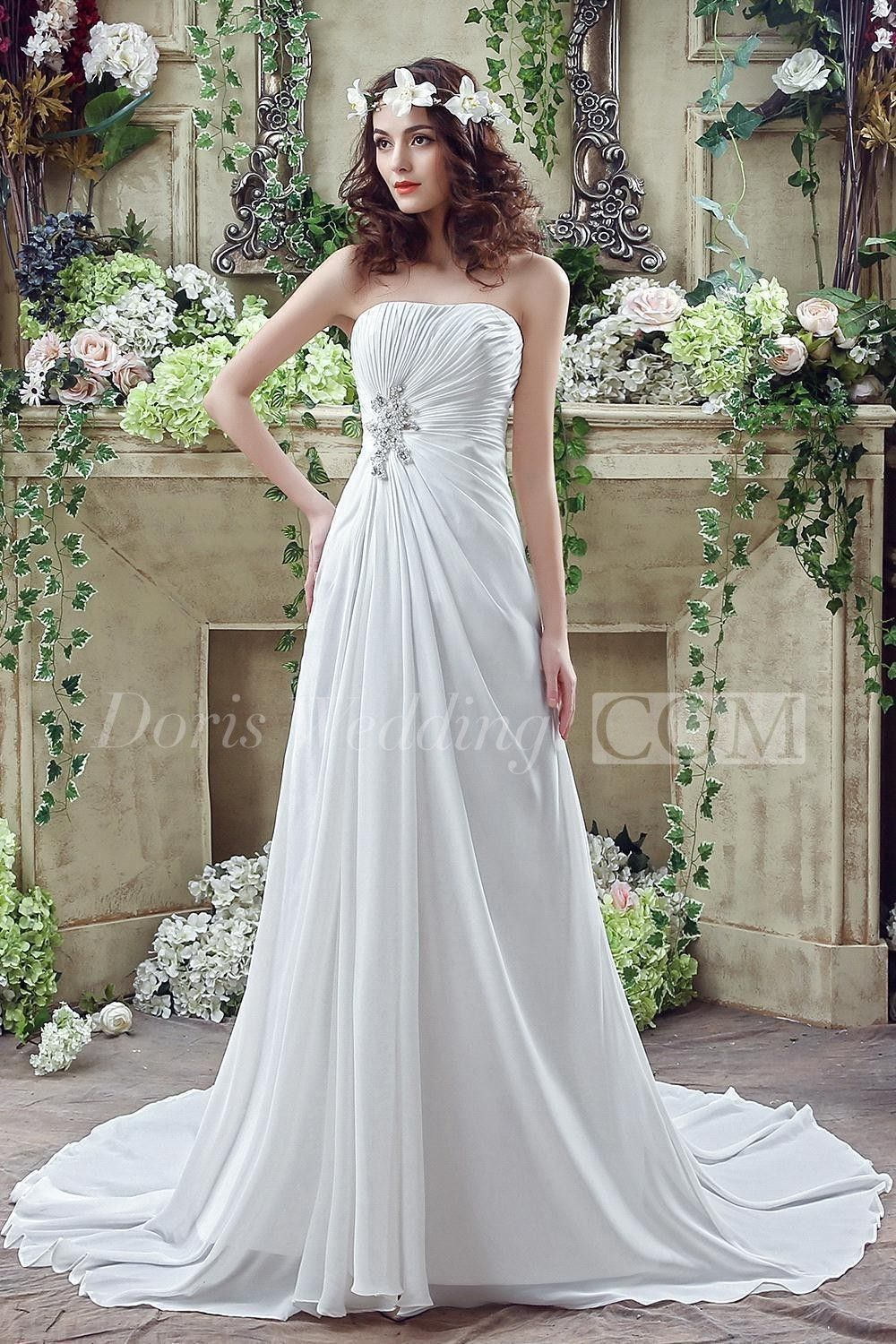 Newest strapless white beadings wedding dress aline sweep