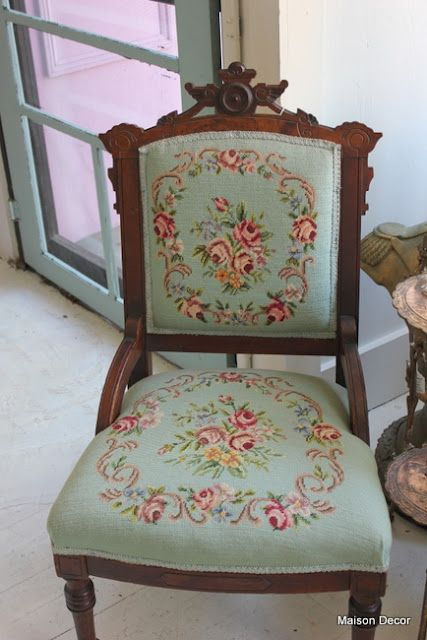 A lovely color for a needlepoint chair at Maison Decor - A Lovely Color For A Needlepoint Chair At Maison Decor Blue And