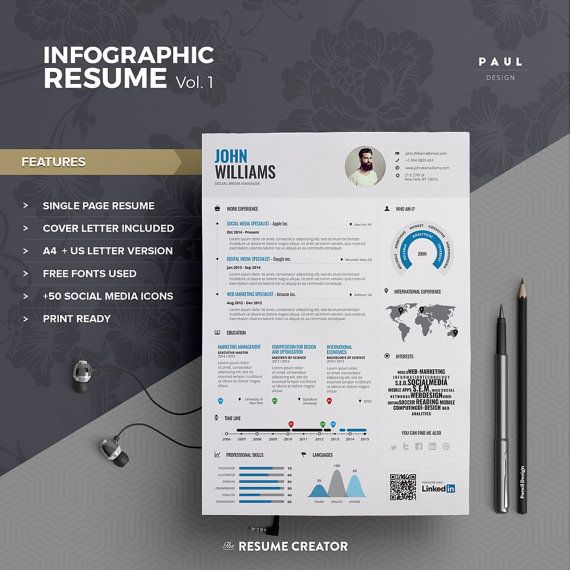 Infographic #Resume Vol1 #Word #Indesign and by #TheResumeCreator - single page resume