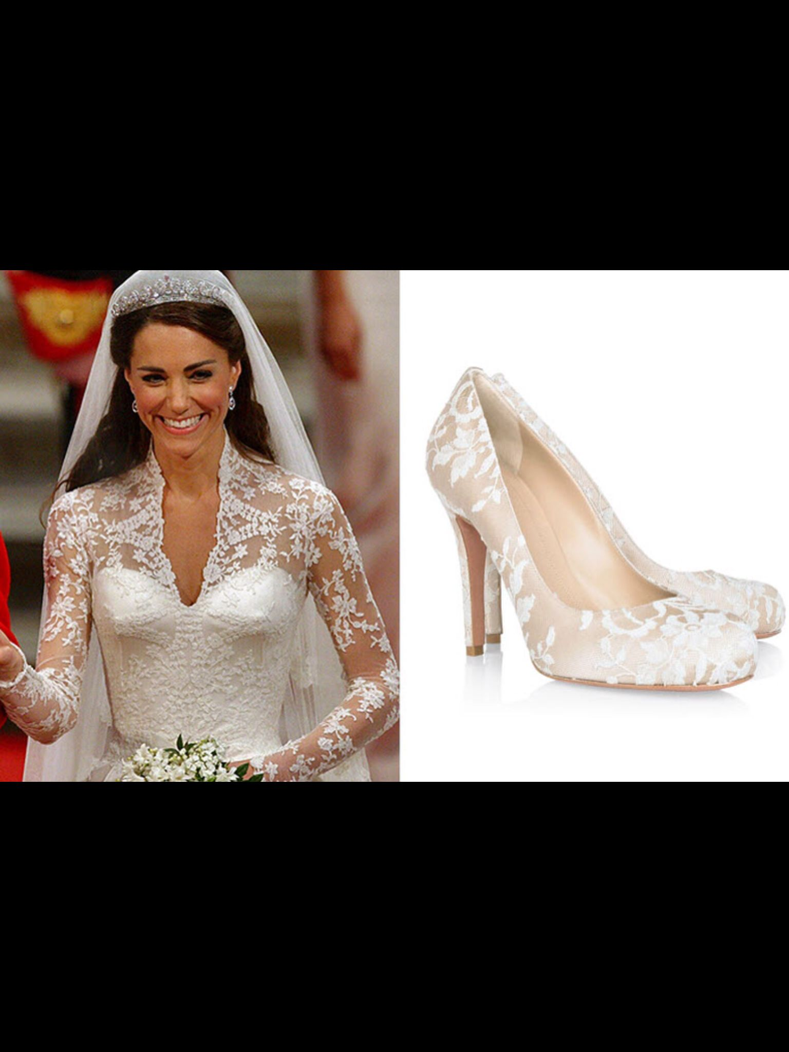 c6bbfbe9828383 The lace embellished shoes that Kate Middleton wore at her marriage to  Prince William.