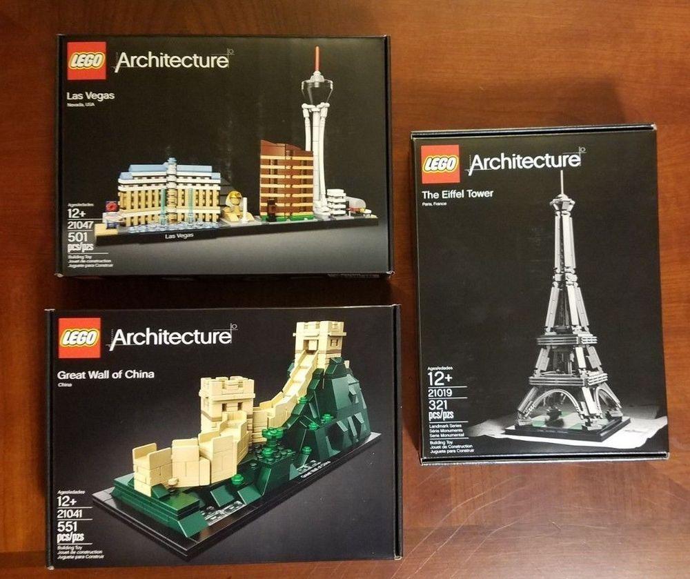 3 Lego Architecture Sets Eiffel Tower 21019 Great Wall 21041 Las Vegas 21047 Lego Architecture Set Lego Architecture Lego