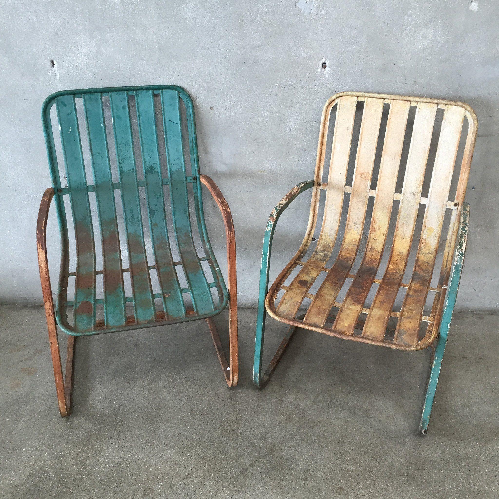 Mid-century Lloyd vintage metal lawn chairs. See history ...