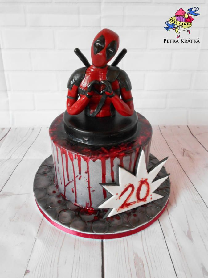 Deadpool Cake By Petra Kr 225 Tk 225 Cakes Frosting In 2019