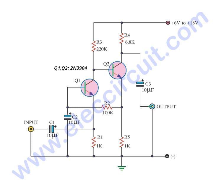 Simple Audio Amplifier Circuit Diagram Using Transistor Eleccircuit Com In 2020 Audio Amplifier Circuit Diagram Electronic Circuit Design