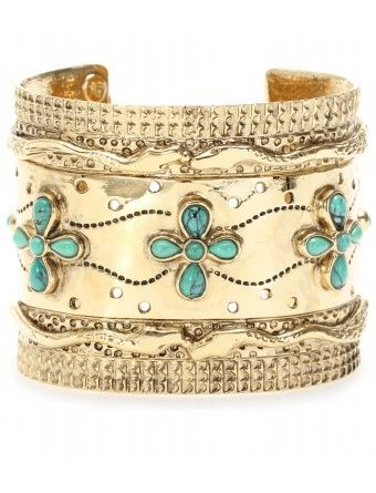 Gold cuff and turquoise accents...