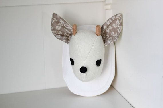 Mounted Felt Plush Deer Head  Cream with Grey by PocketswithPosies, $37.00
