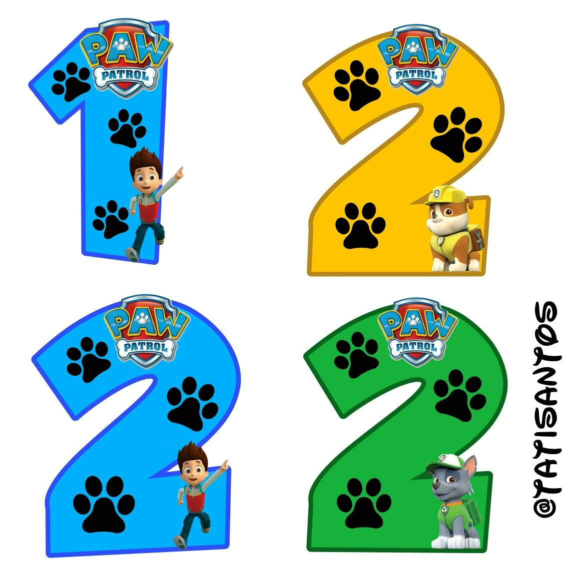 N 250 Meros Personalizados Patrulha Canina 1 E 2 Patrulha