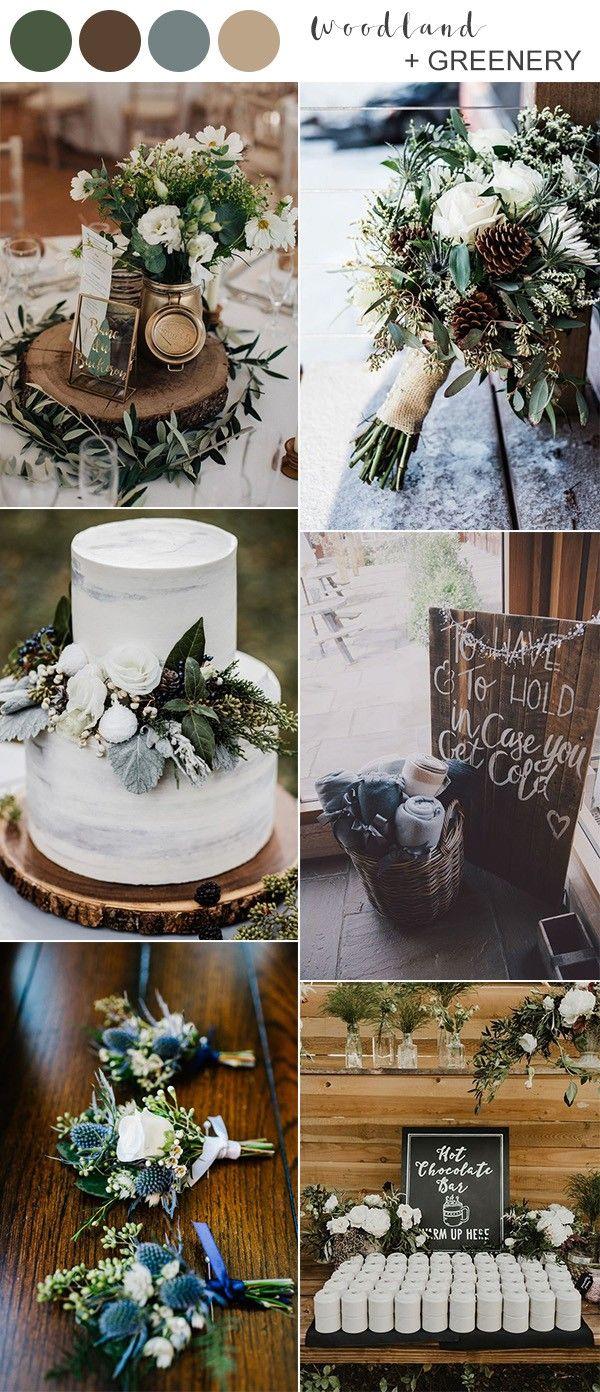 Rustic Woodland And Greenery Winter Wedding Color Ideas Winter Wedding Colors Winter Wedding Decorations Winter Wonderland Wedding