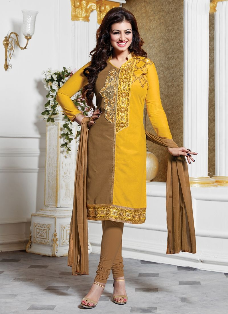 Look stunningly beautiful in this Ayesha Takia yellow cotton   churidar designer suit. This attire is encrafted with embroidered and lace work. Comes with matching bottom and dupatta. (Slight variatio...
