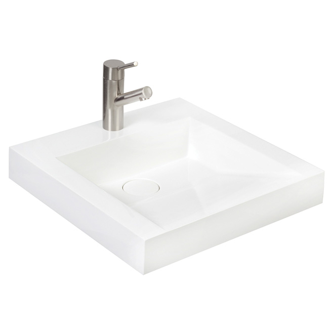 Sink Front Sloped Vessel Lavatory White Cultured