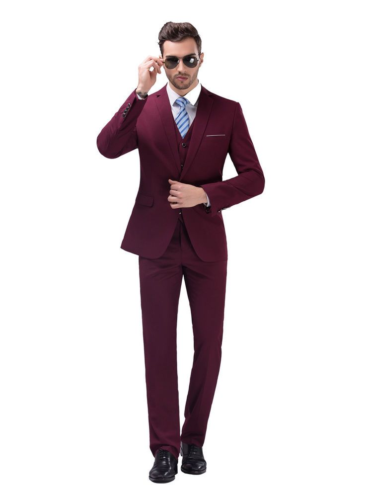 Details about Burgundy Slim Fit Men's Suits Formal Casual Wedding ...