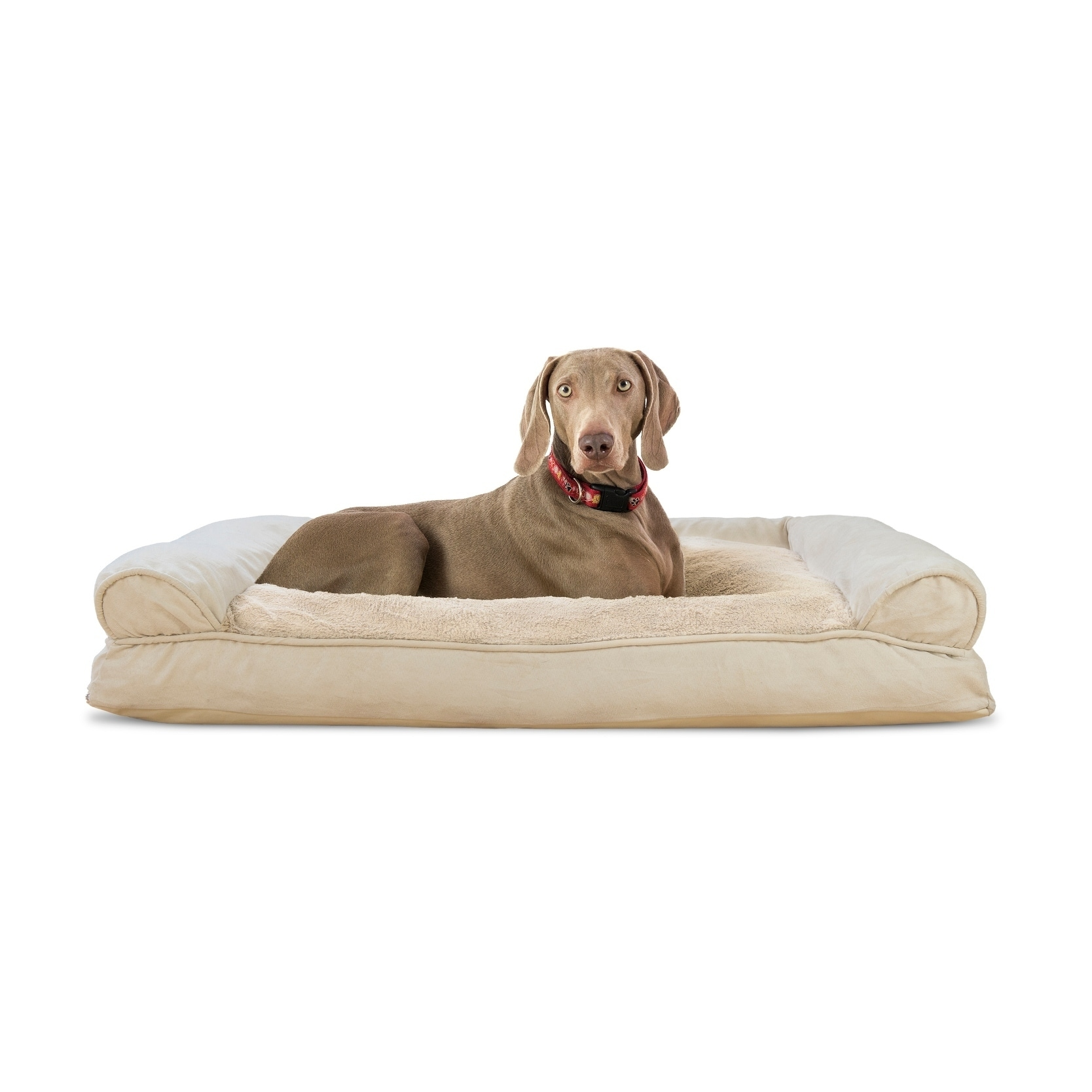 Furhaven Plush Suede Pillow Sofa Dog Bed Clay Extra Large Tan