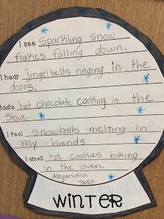 Freebie:  5 Senses Poem Snow Globe Template