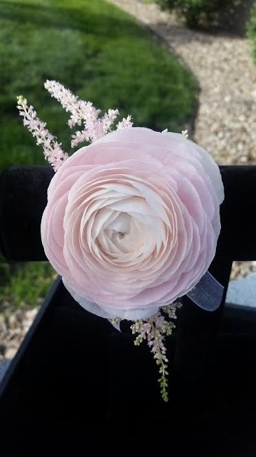 A Beautiful Wrist Corsage Made With A Soft Pink Ranunculus And Astilbe A Great Accent For Your Prom Dress Prom Flowers Bouquet Prom Flowers Corsage