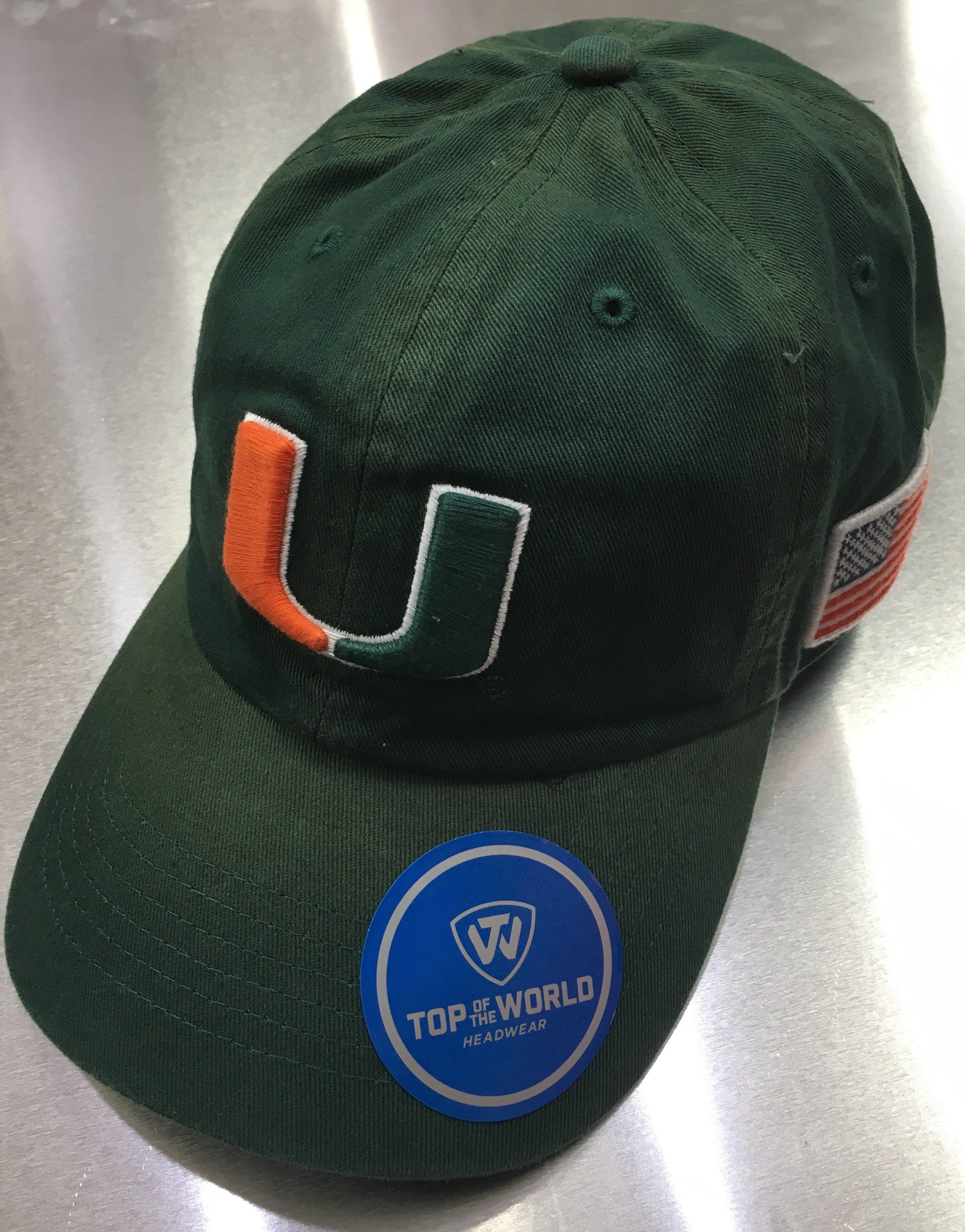 the best attitude ca7cd 203dd Miami Hurricanes Adjustable Flag Hat - Distressed Green