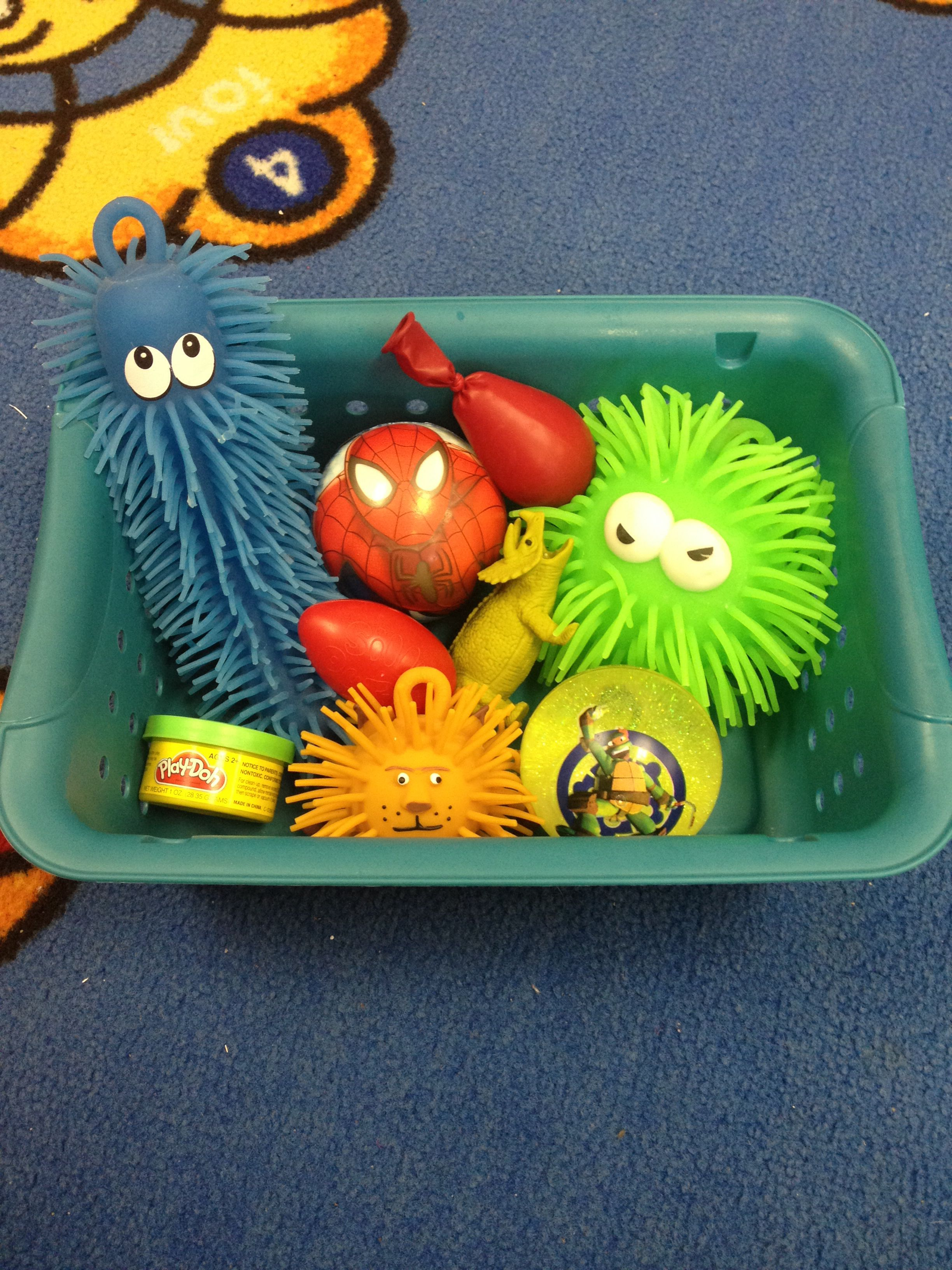 Calming Caddy Filled With Fidget Toys For Kids Who Need Constant Stimulation During Lessons To
